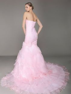 Beautiful Pink Wedding Dresses | 2013 Ball Gown Strapless Pink Mermaid