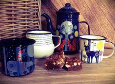 Folklore Enamellled coffee pot, mug, milk jug, stags, foxes, polar bear, owl, autumn nights by the fire.