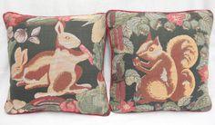 Renaissance Tapestry Lot 2 Fall Decorative Pillows Squirrel Rabbits Green Cord #Renaissance #Americana