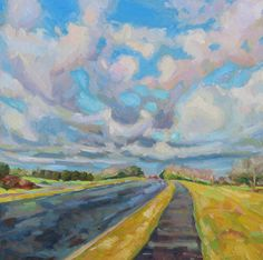 """Road, Clouds, Trees, and Grass; Oil Painting, 12"""" x 12"""", Oil on Cradled Birch Panel by NanciCharpentierArt on Etsy"""