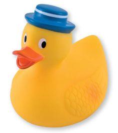 Canard de bain en plastique avec chapeau bleu- Canpol babies- Bébé Petit Pom