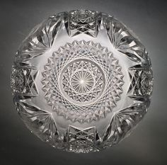 American Brilliant Period Cut Crystal Russian Paneled Roses Round Bowl abp Nice | eBay