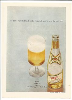1969 Miller High Life Beer Advertisement 60s Gold Bottle Frosty Champagne Glass Restaurant Bar Pub Wall Art Decor