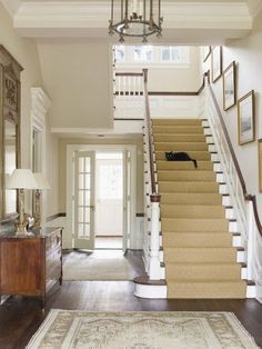 sisal staircase with white. I would like the sisal stair runner to be bordered. sisal staircase with white. I would like the sisal stair runner to be bordered. Entry Stairs, Entrance Foyer, Cat Stairs, Entrance Halls, Entry Hallway, Open Entryway, Small Entry, Basement Stairs, Hallway Ideas