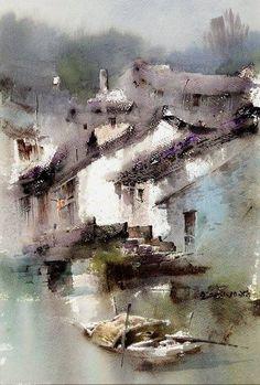 林绍灵 / Lin Shaoling (b. 1957, China) sketch. watercolor.