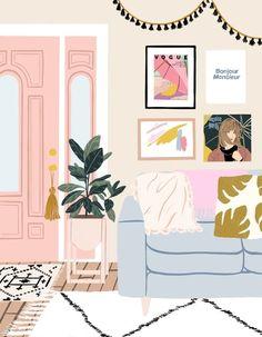 home illustration Ana Hard-Pastel interiors Art And Illustration, 4 Image, Pastel Interior, Bohemian Interior, Scandinavian Interior, Luxury Interior, Grafik Design, Gouache, Aesthetic Art