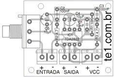 amplificador de áudio em ponte (bridge) usando o ci tda2822 Diy Amplifier, Audio, Google Sites, Bridge, Audio Amplifier, Sign, Brazil, Drawings, Circuits