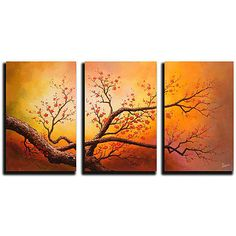 Hand painted Oil on Gallery wrapped Canvas Art (Set of 3) HD0028