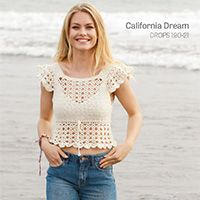 DROPS Design Knitting & Crochet Patterns at Laughing hens Top Tejidos A Crochet, Débardeurs Au Crochet, Beach Crochet, Crochet Blouse, Cotton Crochet, Crochet Tank Tops, Crochet Summer Tops, Drops Design, Knitting Patterns Free