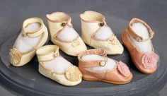 """""""What Finespun Threads"""" - Antique Doll Costumes, 1840-1925 - March 12, 2017: 217 Three Pairs of French Kidskin Shoes"""