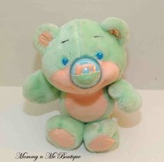 Vintage 80s Playskool Nosy Bears Teal Dolphin Nose Bear Plush Toy I HAD THIS!