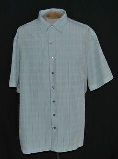 Van Heusen Shirt 2XLT Big & Tall Point Short Sleeve Blue Plaid Rayon Blend #VanHeusen #ButtonFront auction starting at $10.95