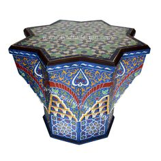 Hand Painted Star Shaped Moroccan Side Table - HPS918,  (http://www.badiadesign.com/moroccan-hand-painted-star-shaped-side-table-hps918/)