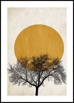 Graphic poster in warm tones with motifs of a sunrise with the silhouet of a tree in front. A stylish and harmonious poster that Poster Mural, Kunst Poster, Art Mural, Poster Prints, Art Prints, Wall Art, Poster Poster, Framed Prints, Good Morning Posters