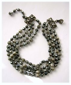 Haskell 'Hematite' & Ridged Silver Balls Choker Necklace