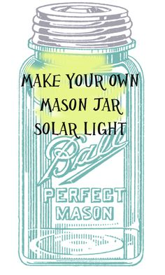 Mason Jar Solar Light - This is a great tutorial for making your own solar light. - Mason Jar Solar Light – This is a great tutorial for making your own solar lights from Mason jars - Mason Jar Solar Lights, Mason Jar Lighting, Jar Lights, Mason Jar Projects, Mason Jar Crafts, Mason Jar Diy, Diy Projects, Energy Projects, Diy Luz