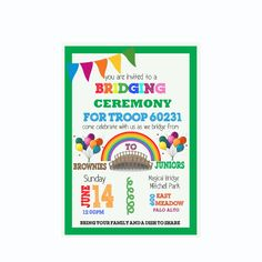 Brownie to Junior-Girl Scout Bridging Ceremony Invitation : ( Can Be customized to any Girl Scouts Level )