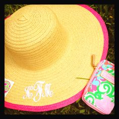 94cdfd9fe9e Monogrammed sunhat and Lilly wristlet Southern Prep