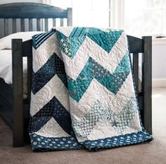 "Try this quick and easy way to make four triangle-squares - you'll be finishing this ""By the Sea"" quilt in no time! Easy quilt project with tutorial and pattern available."