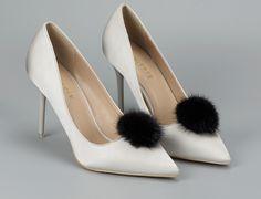 2 Pcs Black Beaded Star Flower Acrylic Beads High Heel Shoes Shoe Clips
