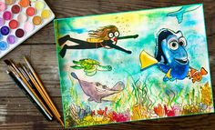 "My quest to finding Dory! ""Just keep swimming"" 🐟 #findingdory #disney #underwaterscenes #watercolors #todaysartwork #drawing #happiness #sketching #arttherapy #artdaily"