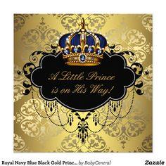 Royal Navy Blue Black Gold Prince Baby Boy Shower Custom Invite