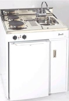 Avanti CK30-1 Complete Compact Kitchen with Refrigerator, White, 3.8 Cu. Ft. Capacity, Stainless Steel Sink with Chrome Faucet, Stainless Steel Countertop, 2 Electric Heating Elements - 500/1000 Watts, Power Indicator Lights, Separate Storage Area.  This is a wee kitchen under $1000, they have bigger ones. where were they when I was trying to build kitchens the size of a shoe box? pin to garage apartments