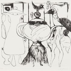@abbottandholder post a regular 'list' of works online mostly under 1000. My pic from their most recent is #edwardburra's 'Mrs Pott. (Sic)  Abbot and Holder give the title as above but #tate catalogue their impression as 'Mrs Pot' and date it #1971 as opposed to A&H's date of #1972. According to Tate this and two other #prints also in the Tate collection Wednesday Night and Drag Queen were published as a folio of three #etchings in 1972 by Alexander Postan. The Tate's cataloguing reads…