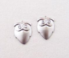 Matt Rhodium Plated Cubic Eye Owl Pendant, 2 pcs