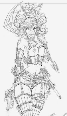 Here is my Harley Pool (Harley Quinn + Deadpool) commission. J Harley Pool Comission Adult Coloring Book Pages, Colouring Pages, Coloring Books, Harley Queen, Character Art, Character Design, Drawn Art, Bd Comics, Desenho Tattoo