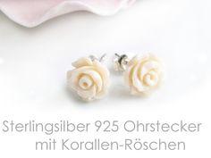 Ohrstecker Silber 925 Koralle von DeineSchmuckFreundin - Schmuck und Accessoires auf DaWanda.com
