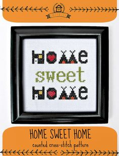 home sweet home crossstitch pattern by cozyblue on Etsy, $4.00
