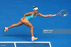Angelique Kerber of Germany plays a forehand in her third round match against Kristyna Pliskova of the Czech Republic on day five of the 2017 Australian Open at Melbourne Park on January 20, 2017 in Melbourne, Australia.