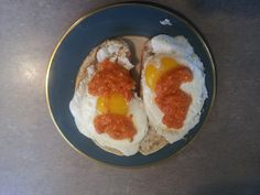 Fried egss and romesco sauce   I love fried eggs and romesco sauce over toast. The Spanish really have subtle flavors that work together well. Who could not like a sauce of roasted red bell peppers, roasted hazelnuts and roast garlic infused in olive oil