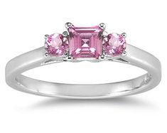 three stone pink topaz ring white gold