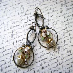 The Resplendent Diversion-assemblage earring-vintage assemblage jewelry-repurposed vintage-pearl rhinestones-enamel earrings-anvilartifacts