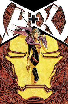 astonishingx:    Shadowcat, lockheed and the Brood (forming Iron Man's face) by Mike del Mundo