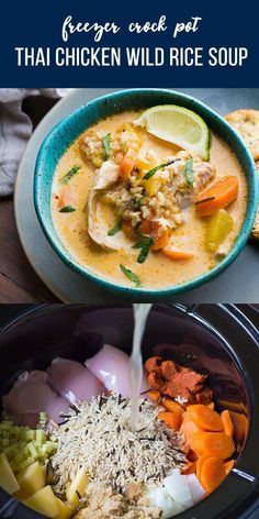 This Thai Slow Cooker Chicken and Wild Rice Soup is a twist on a classic comfort. This Thai Slow Cooker Chicken and Wild Rice Soup is a twist on a classic comfort recipe. A bit spi Slow Cooker Thai Chicken, Slow Cooker Soup, Chicken Freezer, Slow Cooker Thai Curry, Chicken Recipes, Steak Recipes, Lasagna Recipes, Rib Recipes, Recipies