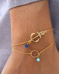 Look what I found Via Alibaba.com App: - high quality double layer women fashion anchor bracelets wholesale