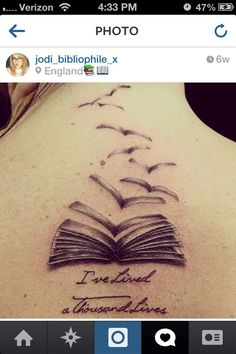 This tattoo combines two favorites - the books becoming flying birds, and this great quote (inspired by a quote in Game of Thrones).