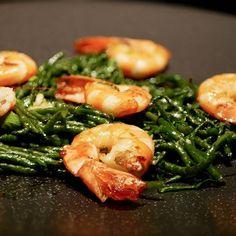 Haricot de mer et crevettes grillées... #salicorne #crevettes #recette