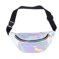 Fashion Holographic PU Leather Shinning Fanny Pack Waist Packs for Women Girls Travel Handy Waist Bag Money Belt Zip Pouch Wallet Plain Leather Fanny Pack, Pu Leather, Fany Pack, Cute Fanny Pack, Waist Purse, Belt Pouch, Bum Bag, Waist Pack, Cute Bags