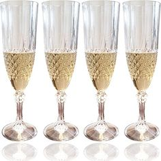 Set of 4 Champagne Flutes with Crystal Effect Cocktail Glass  Plastic Sparkling Wine Glasses to Celebrate Every Special Day  8 Oz -- Be sure to check out this awesome product.-It is an affiliate link to Amazon. #WeddingChampagneWine