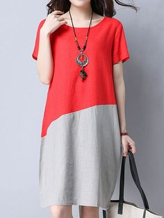 Fashion Patchwork Short Sleeve O Neck Women Dresses
