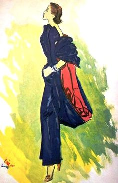 Blue with red from Schiaparelli, illustration by Eric (Carl Erickson),1950