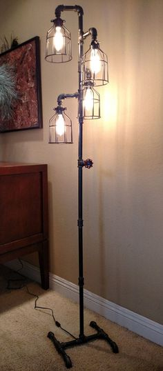 Pipe Floor Lamp 4-fixture Metal Lamp Guard Bulb Cage DOES NOT