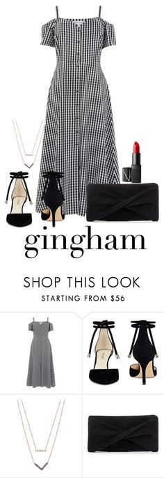 """""""Gingham Dress"""" by gianna-santangelo ❤ liked on Polyvore featuring Warehouse, Nine West, Michael Kors, Reiss and NARS Cosmetics"""