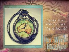 Makes me want to travel. Pocket watch necklace with map. AMAZING! www.OurWorldBoutique.com