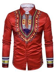 Womens African Fashion Dashiki Lapel African Ethnic Print Luxury Men's Shirt Mens Big And Tall Shirts, Cotton Shirts For Men, Casual Shirts For Men, Men Casual, Mens Shirts Online, Style Ethnique, Shearling Jacket, African Fashion, African Style