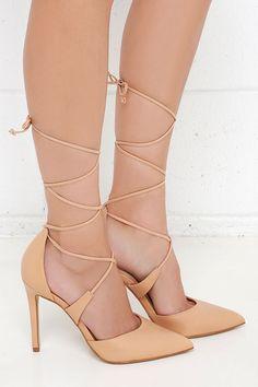 903398da601 Steve Madden Raela Blush Leather Pointed Lace-Up Heels